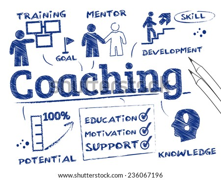 Coaching concept. Chart with keywords and icons - stock vector