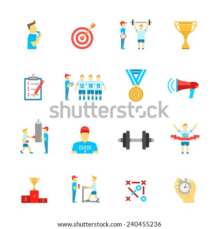 Coaching football team planning boxing training flat icons set with trophy winner abstract isolated vector illustration - stock vector