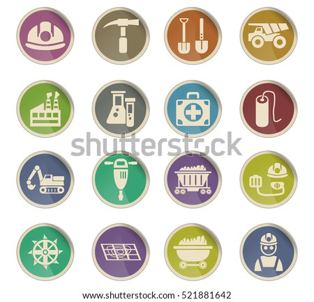 coal industry web icons on color paper labels