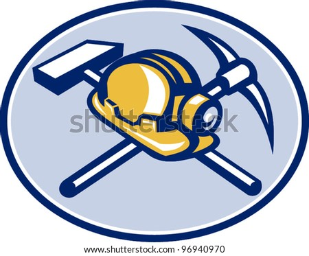 Coal Miner Hardhat Crossed Pick Axe And Hammer - stock vector