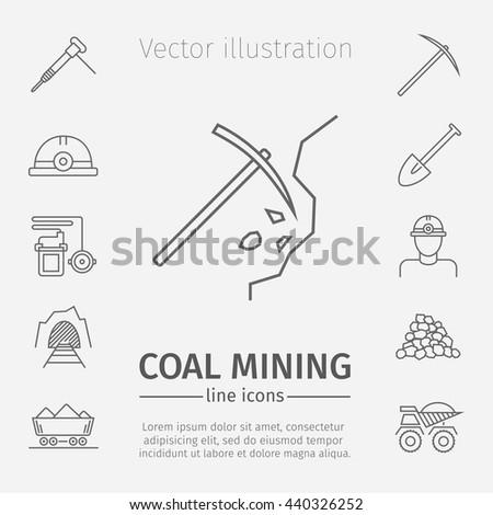 Coal mining poster. Thin line icon set. Vector illustration. - stock vector