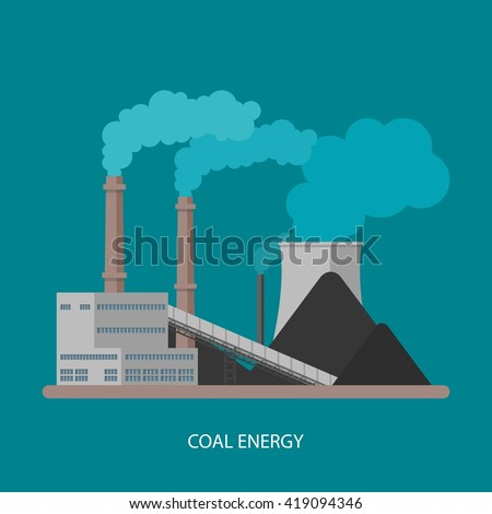Coal power plant and factory. Energy industrial concept. Vector illustration in flat style. Coal power station background.  - stock vector