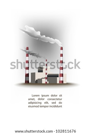 coal power plant with chimney - stock vector