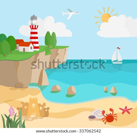 coast seascape with lighthouse and sailboat. vector - stock vector