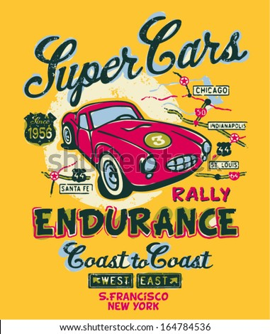 Coast to coast rally - Vector artwork for children wear in custom colors - stock vector