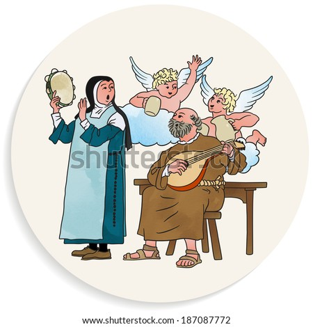 Coaster Background Illustration, Clergy, Beverage And Music In The Middle Ages, Humorous Cartoon - stock vector