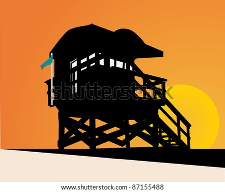 coastguard cottage atmosphere in miami at sunset - stock vector