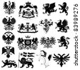 Coat of arms and heraldic animals set isolated on white background - stock vector