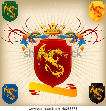 Coat of Arms - Dragon and Crown - stock vector