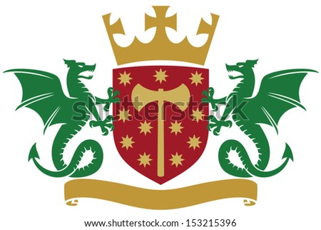 coat of arms - dragons, shield, crown and banner - stock vector