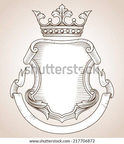 Coat of Arms -  Hand-drawn, highly detailed Coat of Arms illustration.  Copy space available on shield and banner for your text or image.  Colors can be edited easily. - stock vector