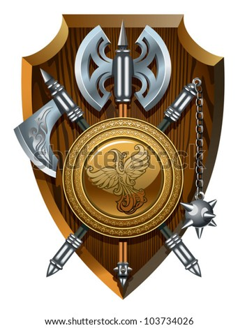 Coat of arms: labrys, axe, Morgenstern and shield, vector illustration - stock vector