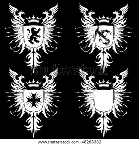 Coat of Arms - Lion, Dragon and Cross - stock vector