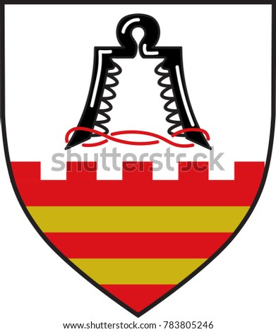 Coat of arms of Ense is a municipality in the district of Soest, in North Rhine-Westphalia, Germany. Vector illustration