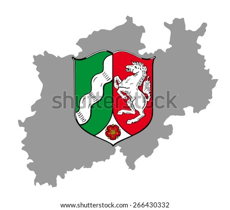Coat of arms of North Rhine-Westphalia, Vector Map of North Rhine-Westphalia, high detailed silhouette illustration isolated on white background. Province in Germany.