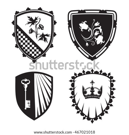 Coat Arms Shield Silhouettes Crown Key Stock Vector ...