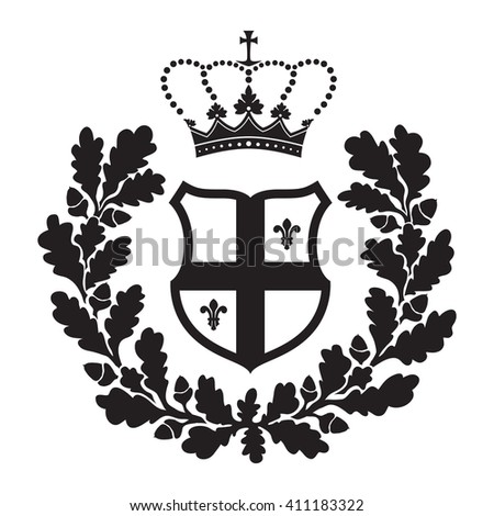 Coat of arms - shield with cross, oak wreath and fleur-de-lys. Based on and inspired by old heraldry. - stock vector