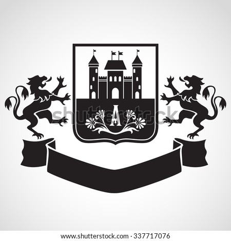 Coat of arms - shield with fortress, letter A, flowers and two standing lions at sides. Based on and inspired by old heraldry. - stock vector