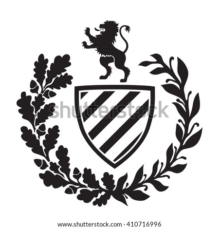 Coat of arms - shield with lion, laurel and oak wreath. Based on and inspired by old heraldry. - stock vector