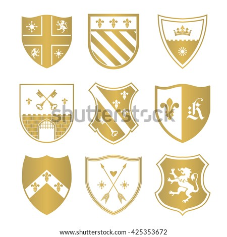 Coat of arms silhouettes for signs and symbols (safety, security, military, medieval). Based on and inspired by old heraldry. - stock vector