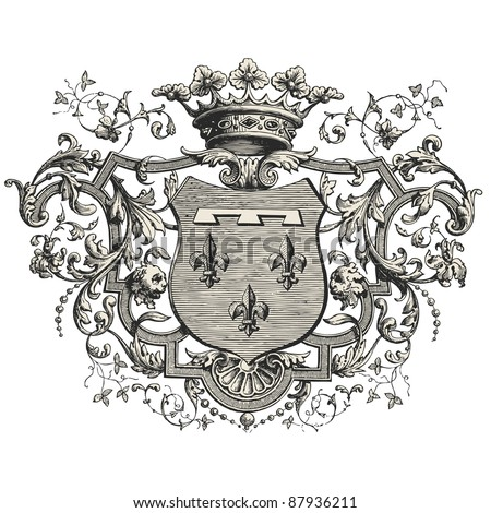"Coat of arms -Vintage engraved illustration - ""Les Français"" by L.Curmer in 1842 France - stock vector"