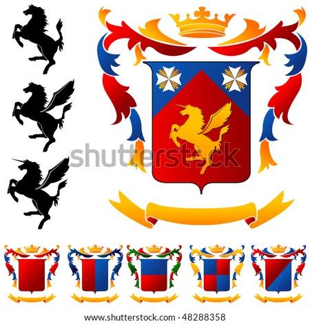 Coat of Arms - Winged horse - stock vector