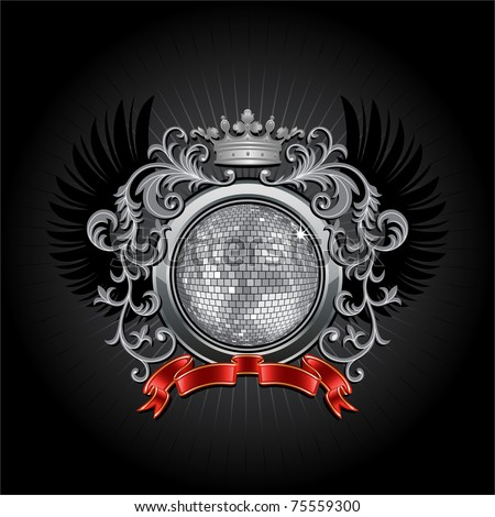 Coat of arms with a disco ball.  Vector illustration. - stock vector
