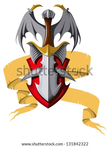 Coat of arms with dragon wings, vector illustration - stock vector