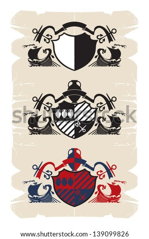 Coat of arms with the Greek galleys, 1, vector - stock vector