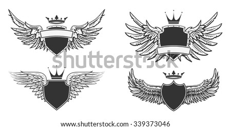 coat of arms with wings. Heraldic design template. Vector illustration.  - stock vector