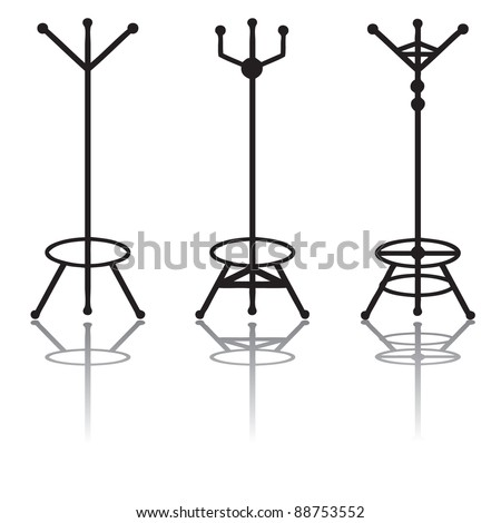 Coat racks silhouette - stock vector