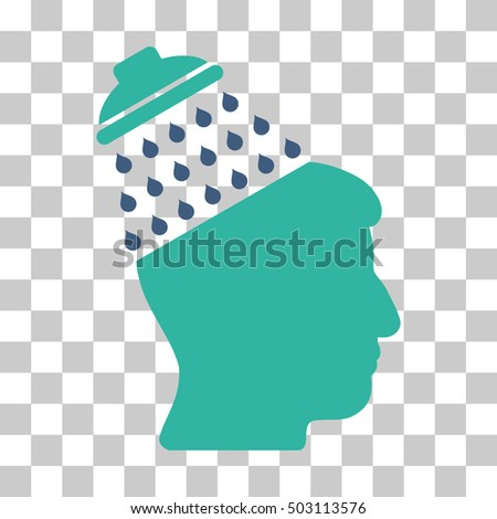 Cobalt And Cyan Brain Shower toolbar icon. Vector pictograph style is a flat bicolor symbol on chess transparent background.