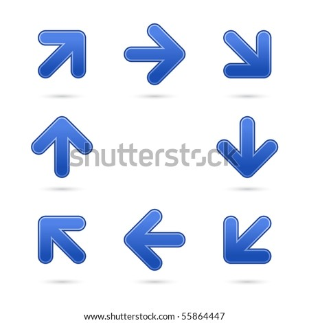 Cobalt satin arrow sign web 2.0 button. Colored shapes with shadow on white background - stock vector
