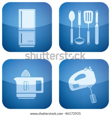 Cobalt Square 2D Icons Set: Kitchen utensils - stock vector
