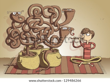 Cobra Snakes Maze Game hand drawn illustration for children. Task: which vessel belongs to hypnotic snake? Answer: on the left! Illustration is in eps10 vector mode! - stock vector