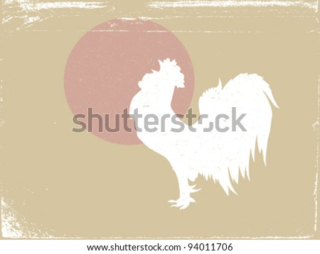 cock silhouette on grunge background, vector illustration - stock vector