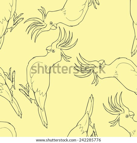 Cockatoo outline seamless pattern