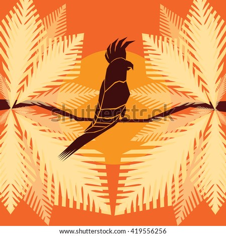 Cockatoo Silhouette on a tree branch with colorful leaves background. Parrot Emblem Mascot Symbol. Flat Style Icon. Tropical Bird looking to the right. Digital vector illustration. - stock vector