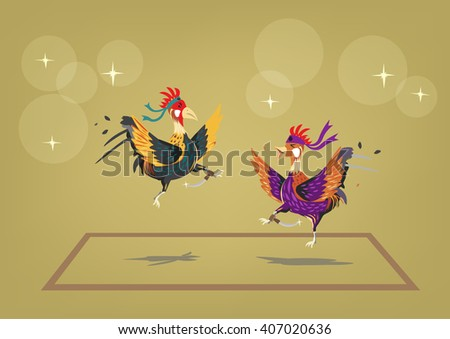 Cockfighting ring with two brave roosters behaving like martial artists. Editable Clip Art. - stock vector