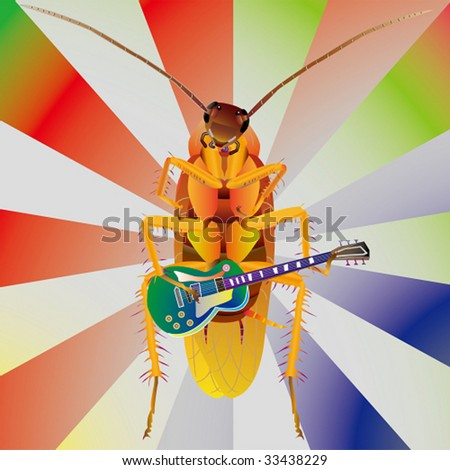 cockroach play guitar - stock vector