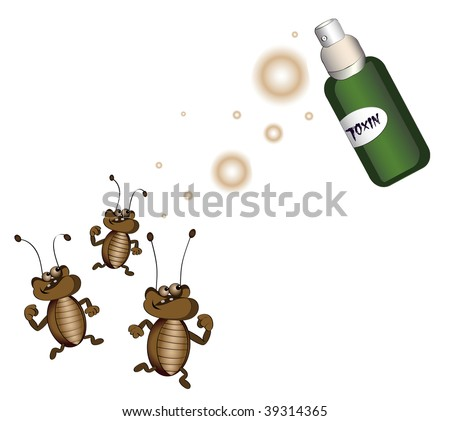 cockroaches running away from killing poison on a white background - stock vector