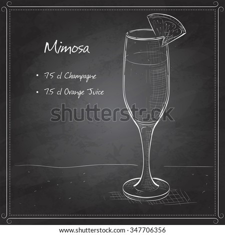 Cocktail alcohol Mimosa with Champagne, orange juice, orange on black board - stock vector