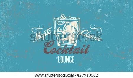 Cocktail bar retro sign. Vector poster template for bar or restaurant. Cocktail lounge vintage background. - stock vector