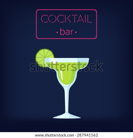 Cocktail Bar Vector Illustration with Margarita Cocktail