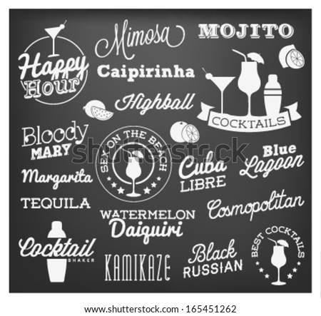 Cocktail Design Elements in Vintage Style. Calligraphic Labels and Badges. Vector Illustration. - stock vector