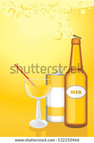 Cocktail, drink and beer bottle on the yellow background. Vector