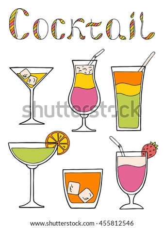 Cocktail glass drink set text graphic art pink yellow green orange color isolated illustration vector - stock vector