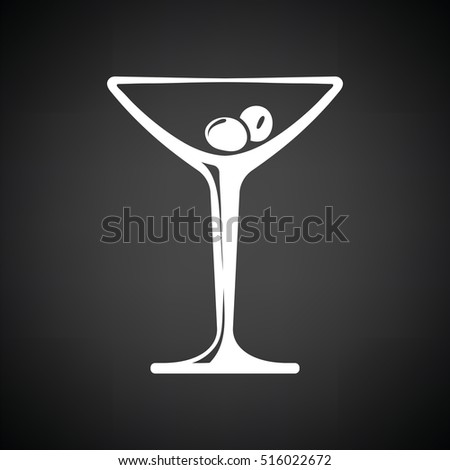 Cocktail glass icon. Black background with white. Vector illustration.