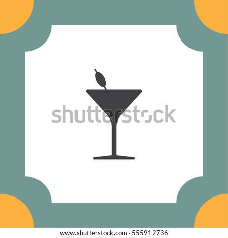 Cocktail Glass vector icon. Alcohol drinking sign. Martini symbol