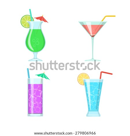 Cocktail glasses isolated on white. Vector symbols collection. - stock vector